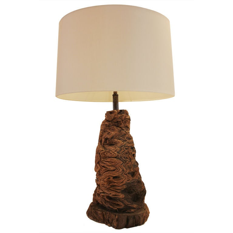 burl wood table lamp for sale at 1stdibs. Black Bedroom Furniture Sets. Home Design Ideas