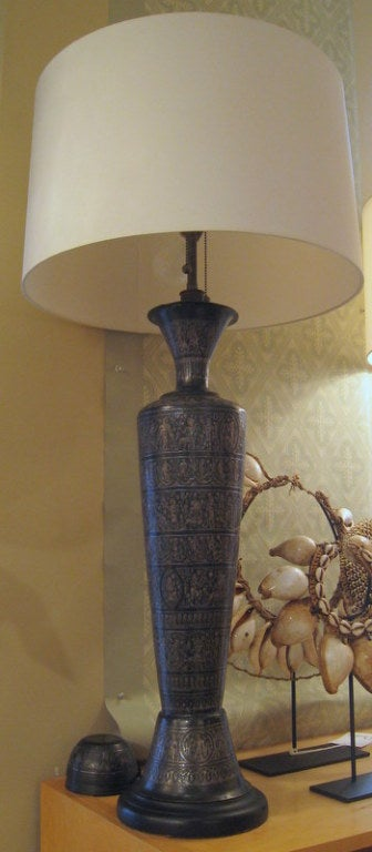 Pair of Italian bronze lamps with Egyptian Motif, Graffito.