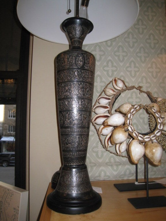 Pair of Italian Bronze Lamps For Sale 2