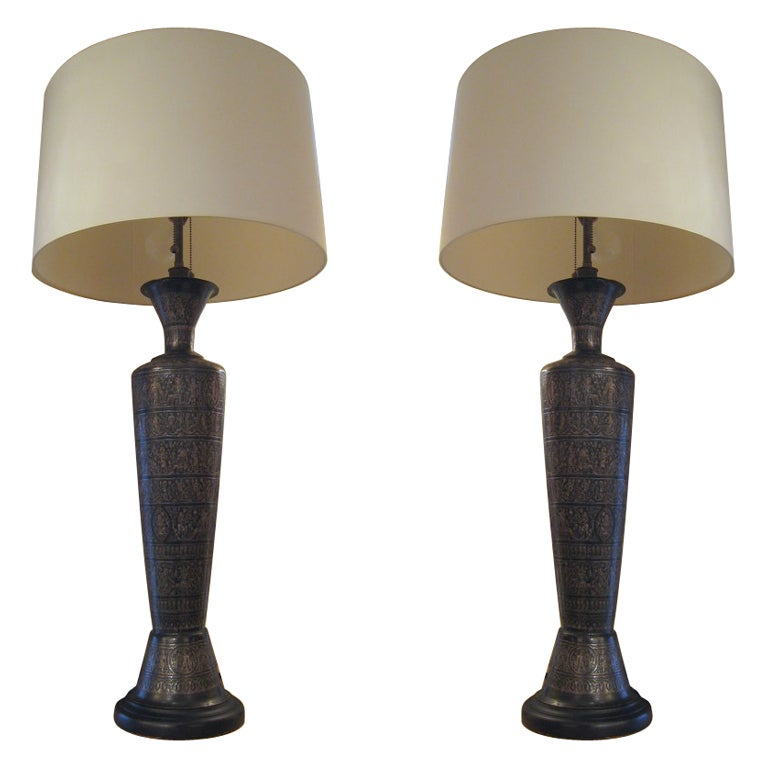 Pair of Italian Bronze Lamps For Sale