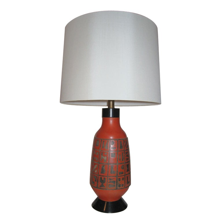 red ceramic lamp with hieroglyphs for sale at 1stdibs. Black Bedroom Furniture Sets. Home Design Ideas