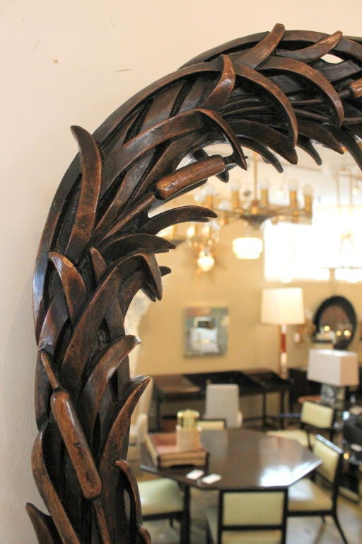 Hand-Carved Mahogany Cat Tail Mirror 3