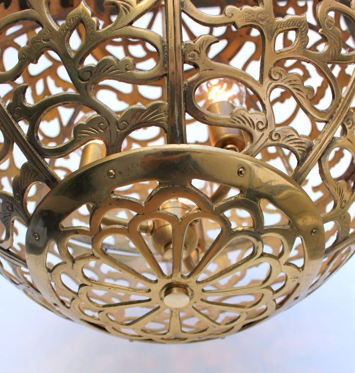 Large Japanese Brass Globe Lantern