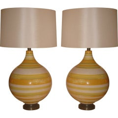 Pair of Large California Ceramic Lamps