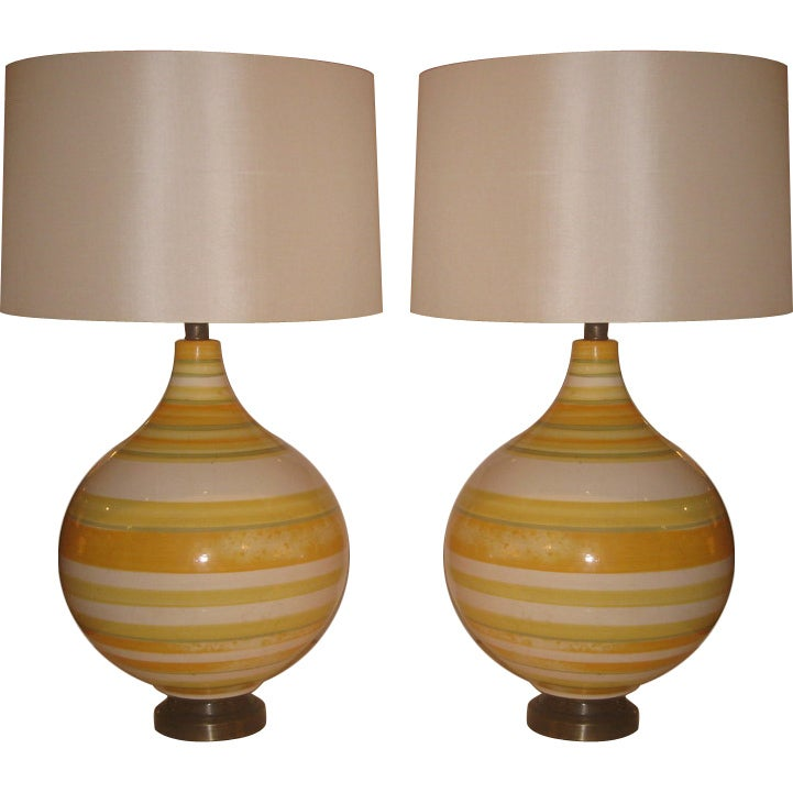 Pair of Large California Ceramic Lamps