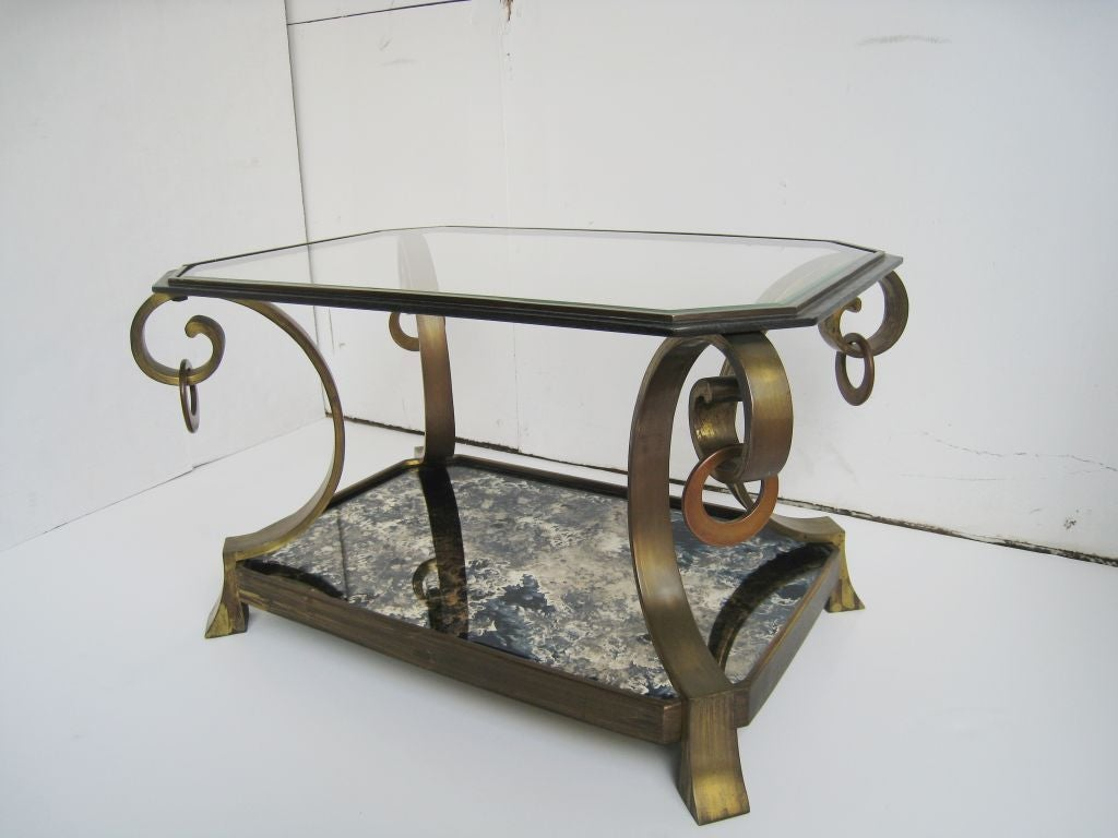 Pair of Robert and Mito Block Brass and Eglomise Glass Tables 2