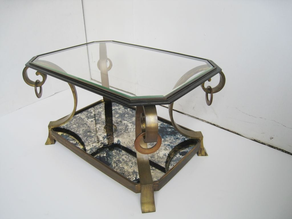 Pair of Robert and Mito Block Brass and Eglomise Glass Tables 3