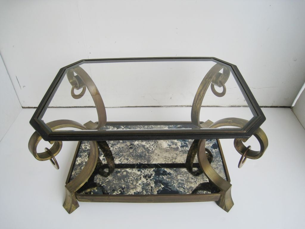 Pair of Robert and Mito Block Brass and Eglomise Glass Tables 4