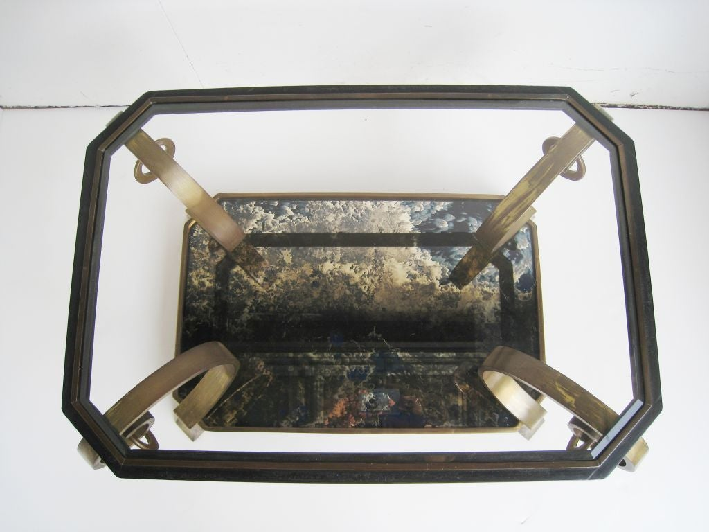 Pair of Robert and Mito Block Brass and Eglomise Glass Tables 5