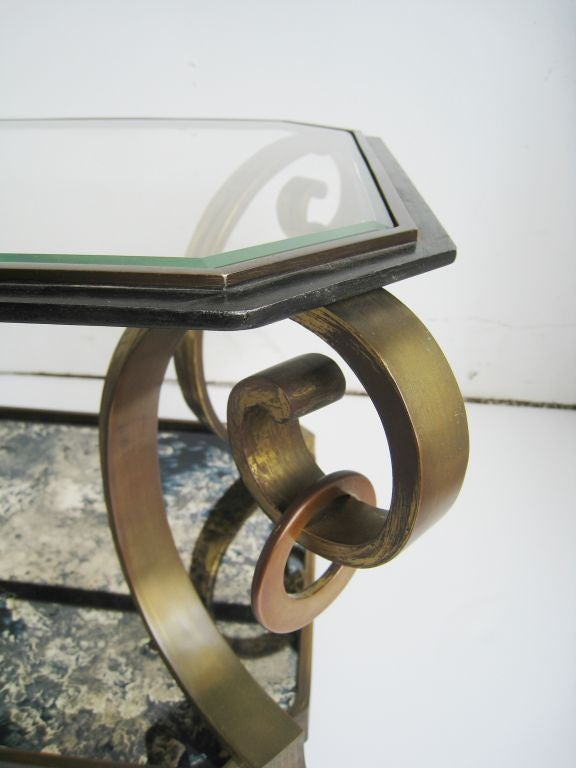 Pair of Robert and Mito Block Brass and Eglomise Glass Tables 7