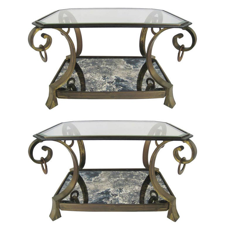 Pair of Robert and Mito Block Brass and Eglomise Glass Tables