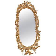 Italian Gilded Tole and Murano Glass Mirror