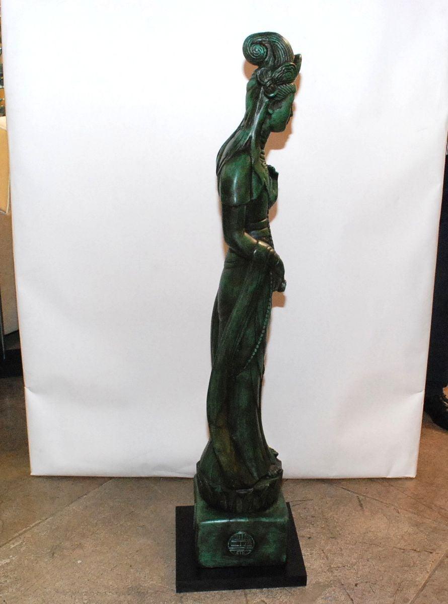 Pair Of Hollywood Regency Ceramic Asian Goddess Statues
