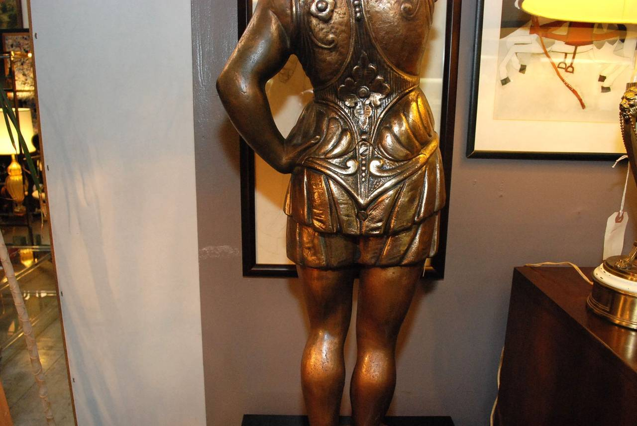 Italian Cast Iron Standing Sculpture of Roman Lady with Torch For Sale 5