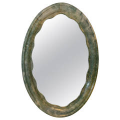 Beautiful Parchment Oval Mirror