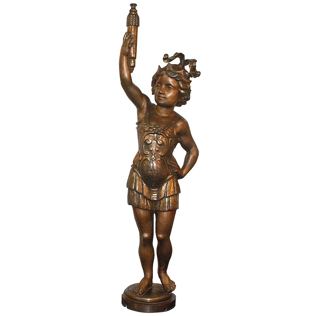 Italian Cast Iron Standing Sculpture Of Roman Lady With