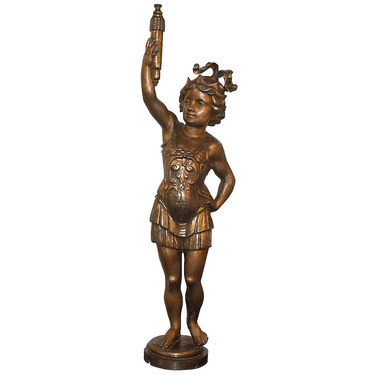 Italian Cast Iron Standing Sculpture of Roman Lady with Torch For Sale