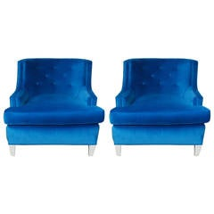 Pair of Hollywood Regency Tufted Back Armchairs