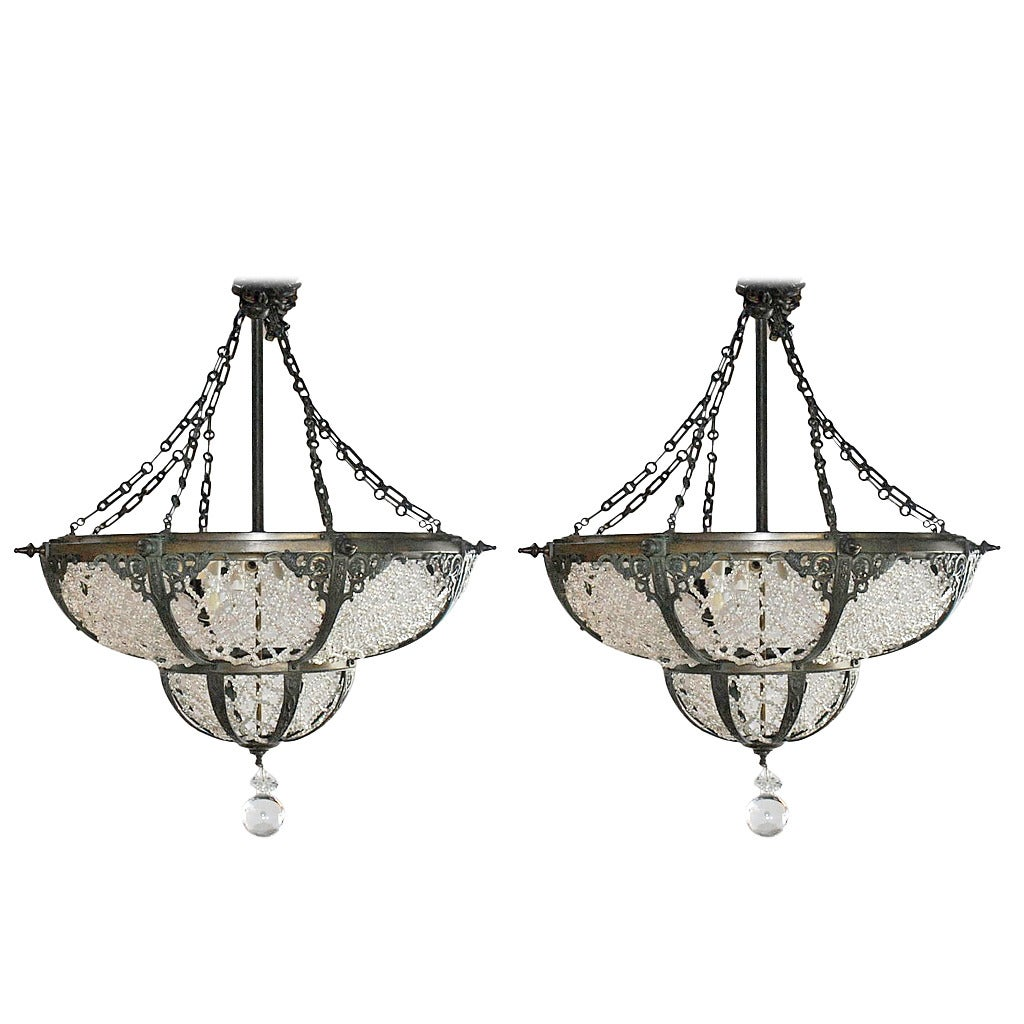 Pair of bronze and beaded glass chandeliers in the russian style for sale at 1stdibs - Chandelier glass beads ...