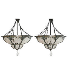 Pair of Bronze and Beaded Glass Chandeliers in the Russian Style