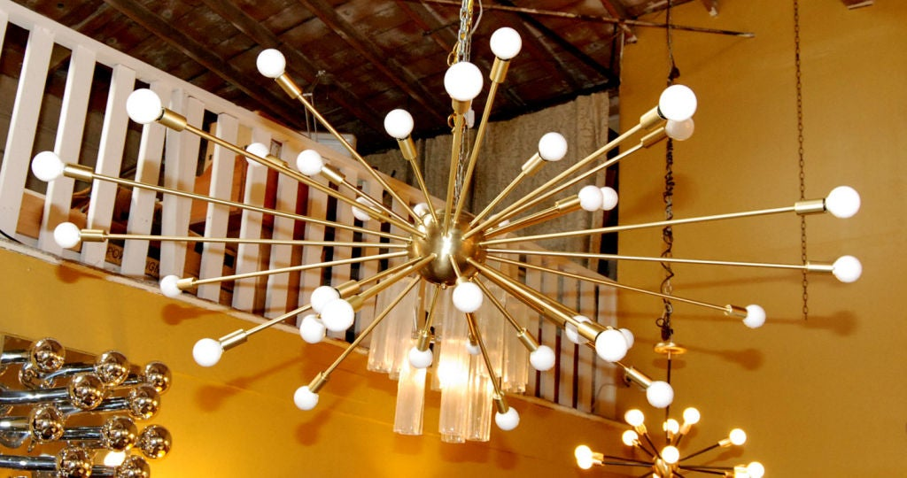 Large 36 light satin brass finish Sputnik chandelier.
