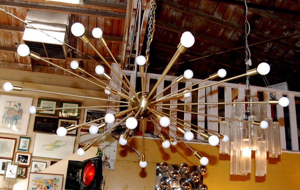 Modern 36 Light Brass Sputnik Light Fixture For Sale