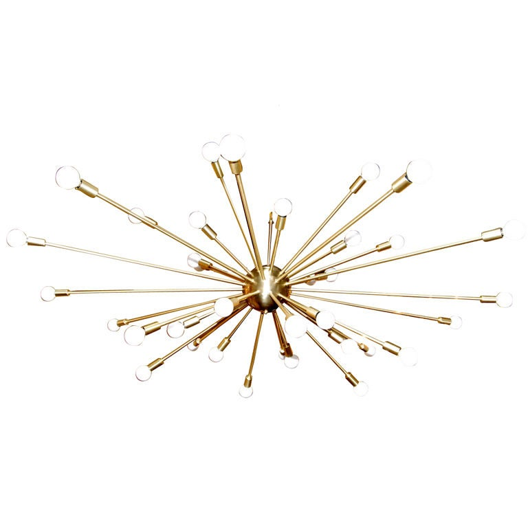 36 Light Brass Sputnik Light Fixture For Sale