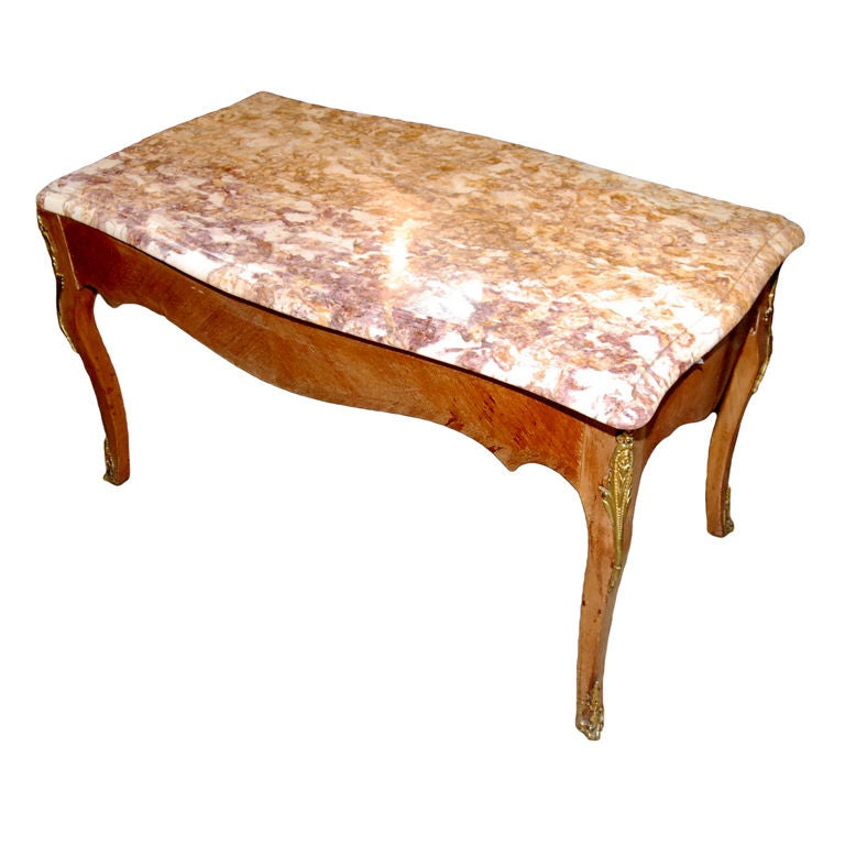 French Louis XV Style Coffee Table With Marble Top At 1stdibs
