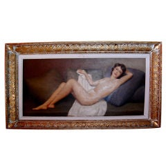 1930's Nude Oil Painting Signed MAUBRI