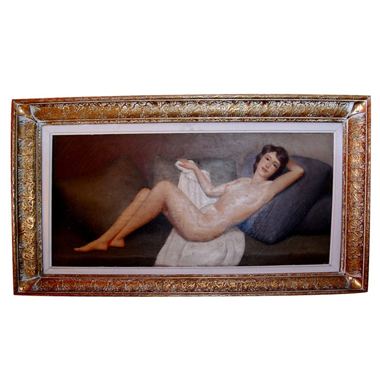 1930s Nude Oil Painting Signed Maubri
