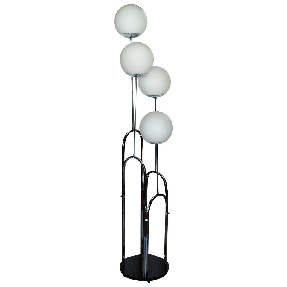 mid century modern floor lamp in the style of milo baughman for sale. Black Bedroom Furniture Sets. Home Design Ideas