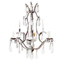 Large Six-Light Rock Crystal Chandelier