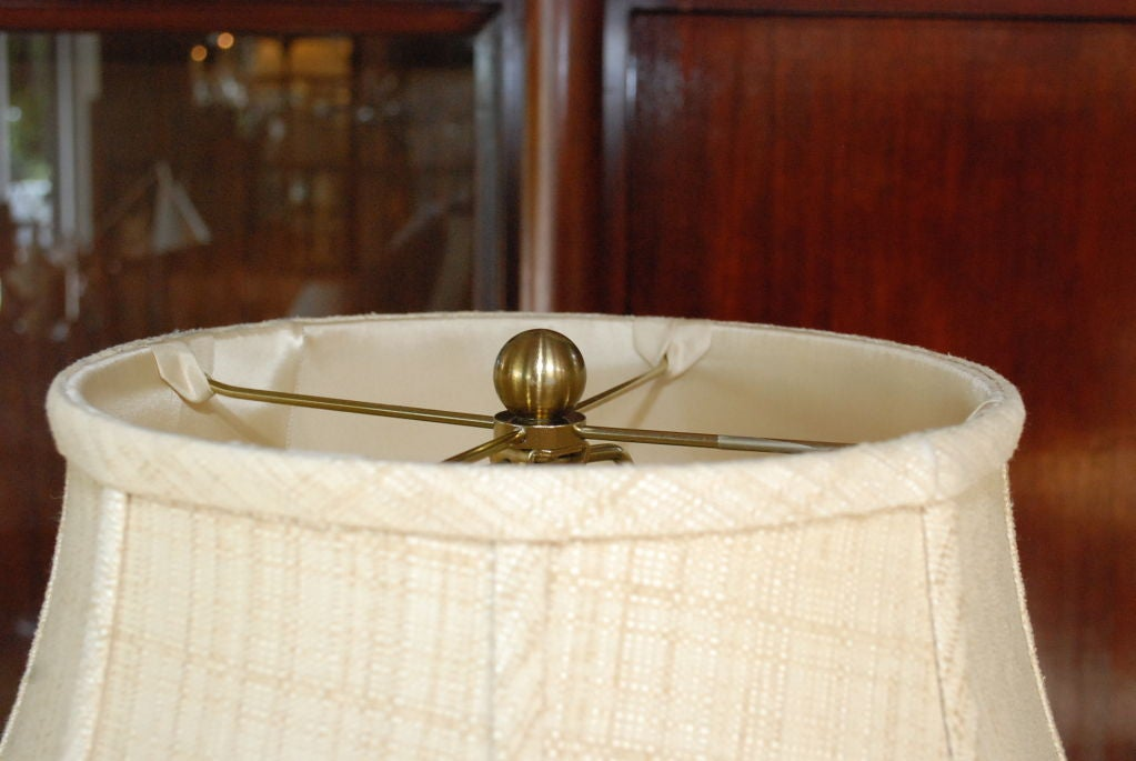 Brass Table Lamp with Marble Base In Good Condition For Sale In Los Angeles, CA