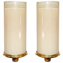 Pair of Venini Filigrana Tube Sconces