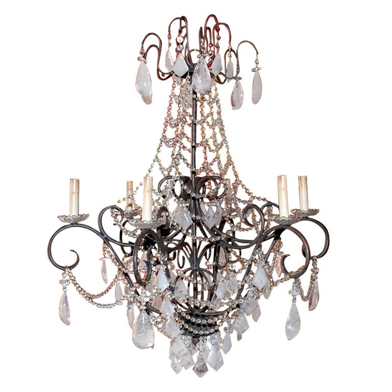 1980s Six-Light Rock Crystal Chandelier