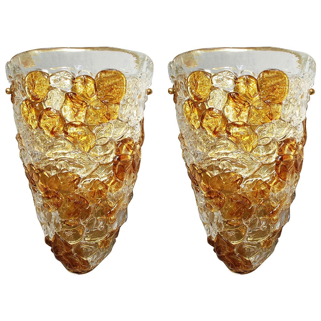 Amber Wall Sconces Glass : Amber and Clear Murano Glass Shield Sconces at 1stdibs