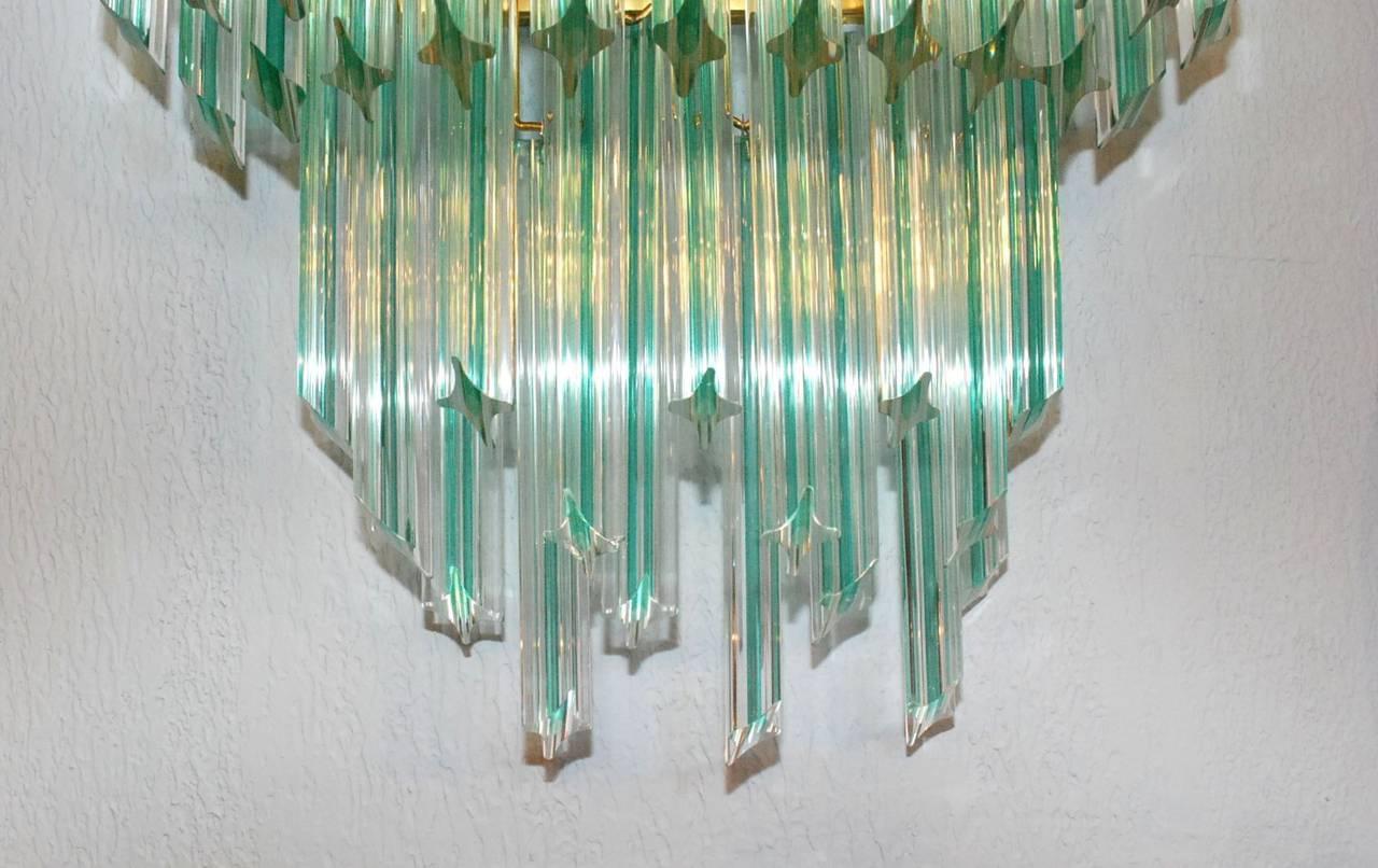 Mid-Century Modern Pair of Venini Aqua Stripe Quadriedri Sconces For Sale