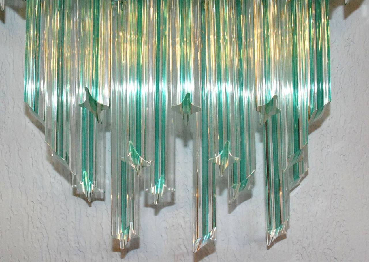 Italian Pair of Venini Aqua Stripe Quadriedri Sconces For Sale