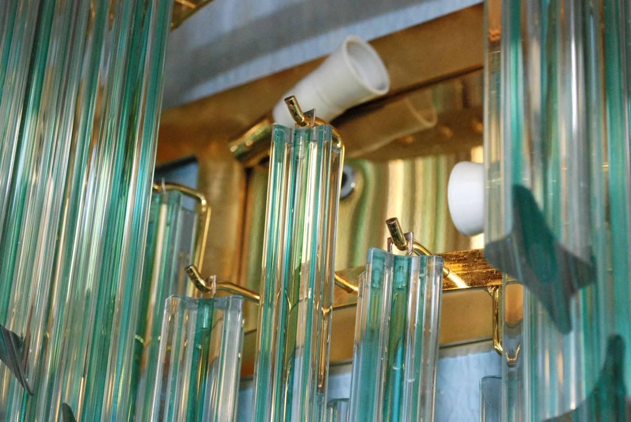 Brass Pair of Venini Aqua Stripe Quadriedri Sconces For Sale