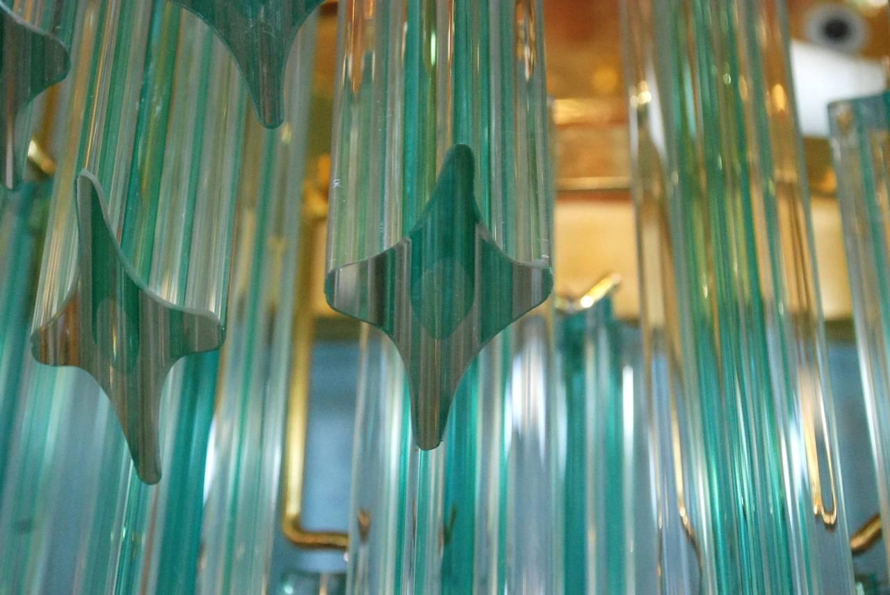 Pair of Venini Aqua Stripe Quadriedri Sconces For Sale 1