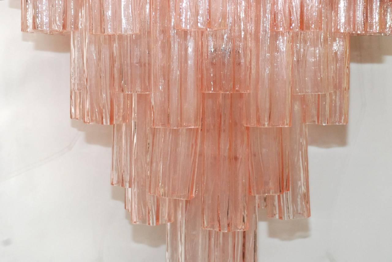 Mid-Century Modern Venini Pink Tronchi Chandelier