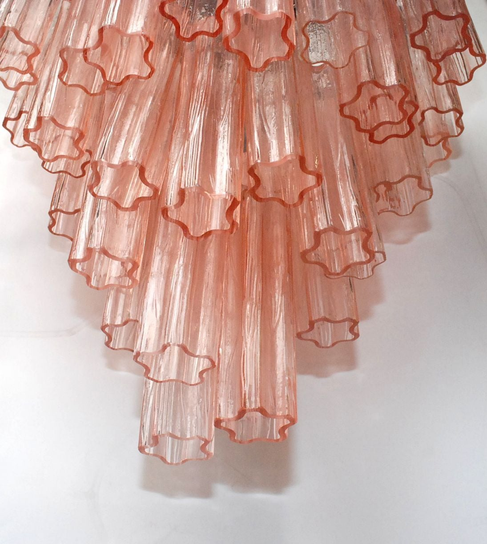 Italian Venini Pink Tronchi Chandelier