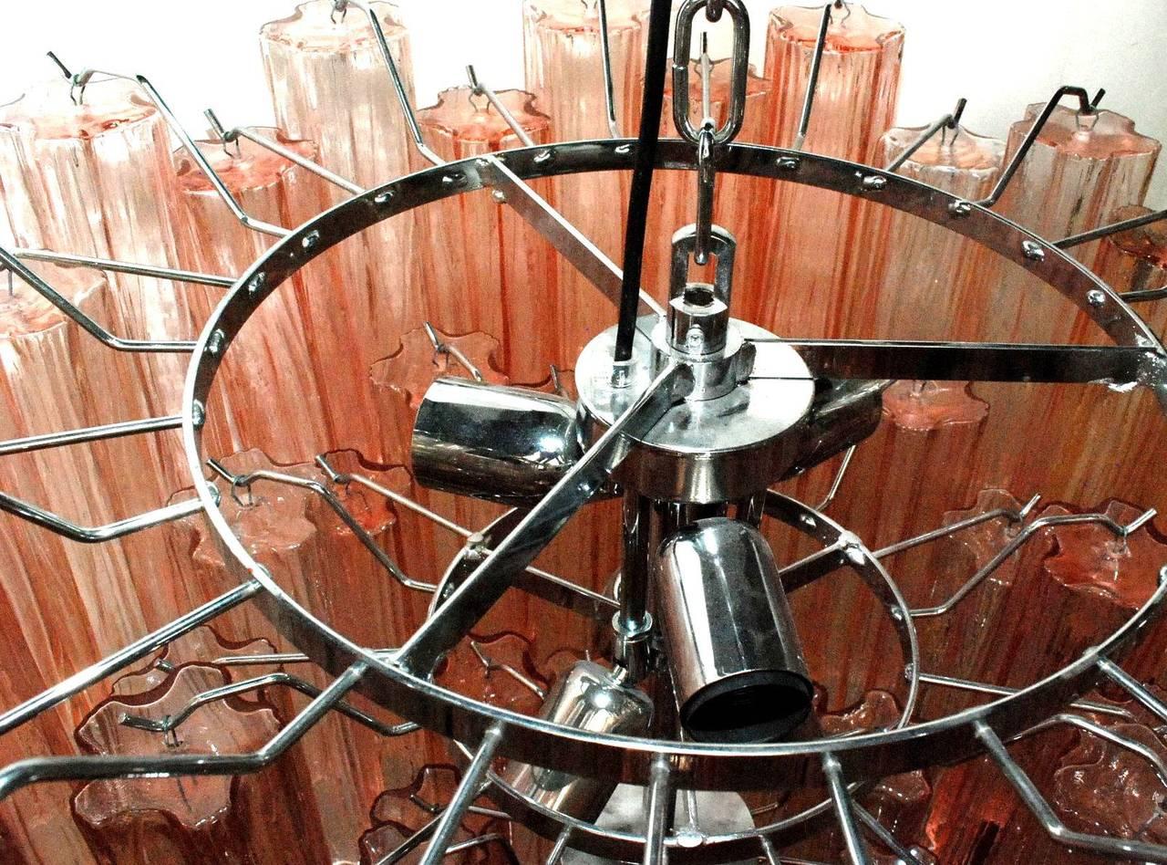 20th Century Venini Pink Tronchi Chandelier