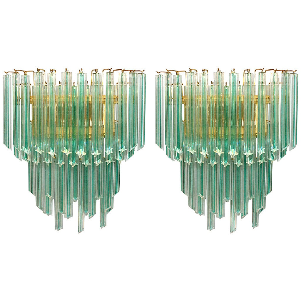 Pair of Venini Aqua Stripe Quadriedri Sconces For Sale