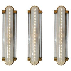 Set of Three Art Deco Frosted Glass and Brass Sconces