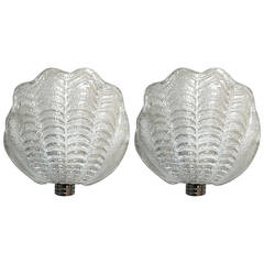 Pair of Graniglia Shell Sconces by Mazzega