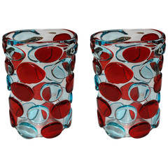 Pair of Red and Blue Button Murano Vases by Enrico Camozzo