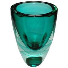 Tall Green Murano Sommerso Vase by Romano Dona