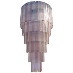 Mazzega Clear and Amethyst Murano Glass Cascading Planks Chandelier