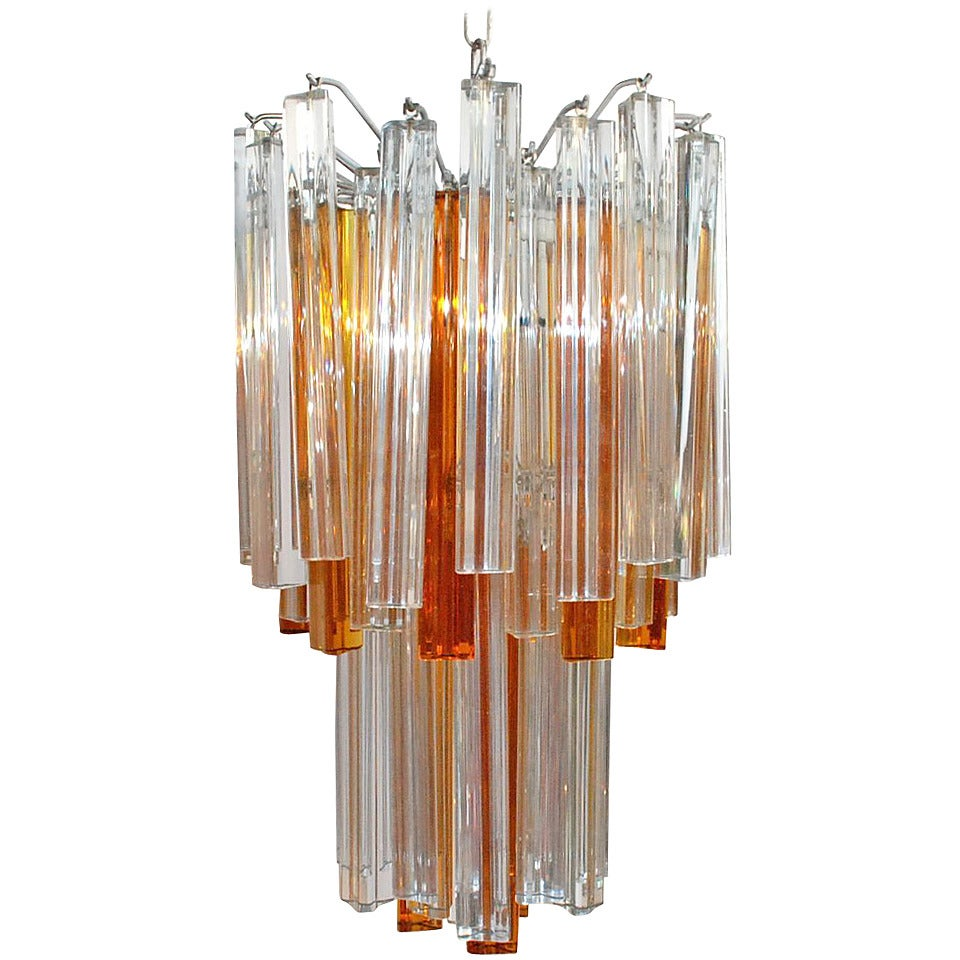 Venini Clear and Amber Murano Glass Triedri Chandelier